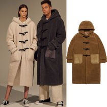 Casual Style Unisex Plain Long Oversized Duffle Coats