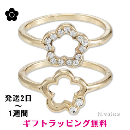 Casual Style Flower With Jewels Rings