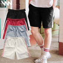WV PROJECT Short Casual Style Unisex Street Style Plain Cotton