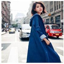 Casual Style Denim Plain Medium Coats