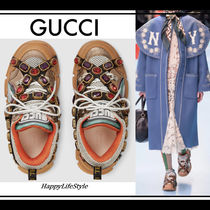 GUCCI Round Toe Rubber Sole Lace-up Casual Style Street Style