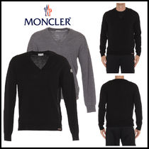 MONCLER V-Neck Long Sleeves Plain Knits & Sweaters