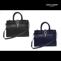 Saint Laurent CABAS Unisex 2WAY Plain Leather Totes