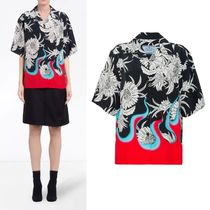 PRADA Flower Patterns Street Style Short Sleeves Elegant Style