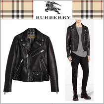Burberry Plain Leather Biker Jackets