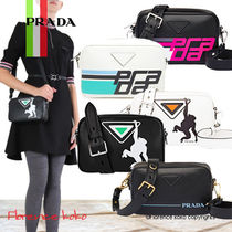 PRADA Casual Style Calfskin 2WAY Bi-color Shoulder Bags
