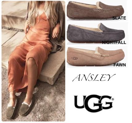 UGG Australia Loafer Rubber Sole Sheepskin Loafer Pumps & Mules