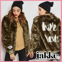 Jakke Faux Fur Medium Elegant Style Jackets