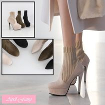 Faux Fur Pin Heels Ankle & Booties Boots