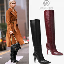 Michael Kors Casual Style Plain Leather Pin Heels Over-the-Knee Boots