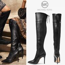 Michael Kors Casual Style Faux Fur Plain Pin Heels Over-the-Knee Boots