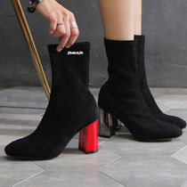 Plain Toe Casual Style Suede Plain Block Heels