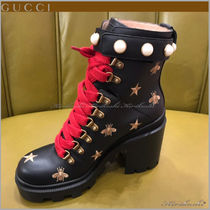 GUCCI Star Platform Round Toe Casual Style Plain Leather