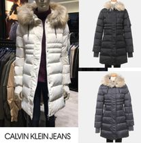Calvin Klein Faux Fur Street Style Plain Medium Down Jackets