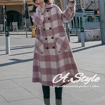 Stand Collar Coats Gingham Other Check Patterns Casual Style