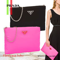 PRADA Casual Style Nylon 2WAY Chain Plain Shoulder Bags