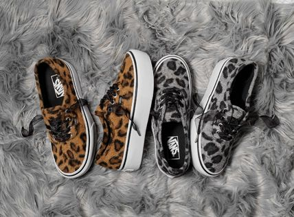 VANS Platform & Wedge Leopard Patterns Platform Round Toe Lace-up Casual Style 2