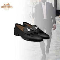 HERMES Loafers Plain Leather U Tips Fringes Loafers & Slip-ons