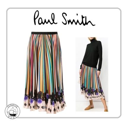 Stripes Casual Style Long Maxi Skirts