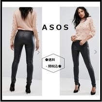 ASOS Faux Fur Plain Leather & Faux Leather Pants