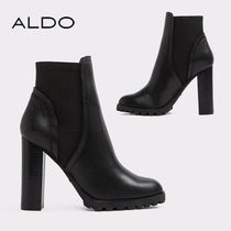 ALDO Platform Round Toe Plain Leather Ankle & Booties Boots