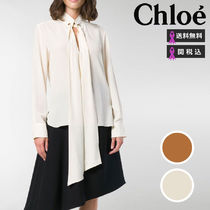 Chloe Casual Style Silk Long Sleeves Plain Medium Shirts & Blouses