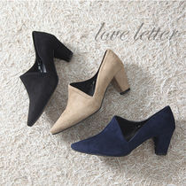 Suede Plain Block Heels Office Style