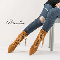 Lace-up Casual Style Plain Pin Heels Lace-up Boots