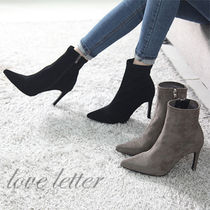 Suede Plain Pin Heels Office Style Ankle & Booties Boots