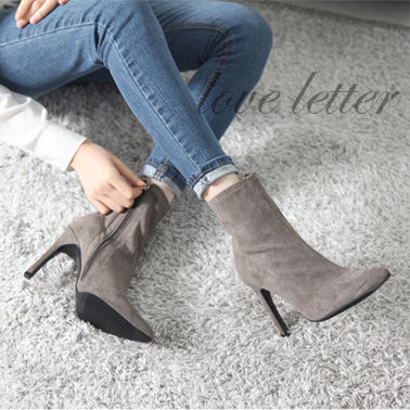 Ankle & Booties Suede Plain Pin Heels Office Style Ankle & Booties Boots 5