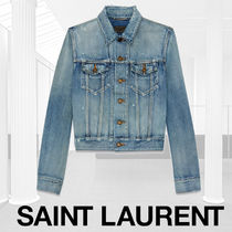 Saint Laurent Short Casual Style Denim Street Style Plain Jackets