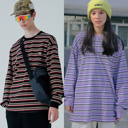 Crew Neck Stripes Unisex Street Style Long Sleeves Cotton