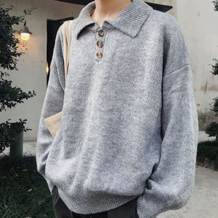 Knits & Sweaters Long Sleeves Plain Cotton Knits & Sweaters 10