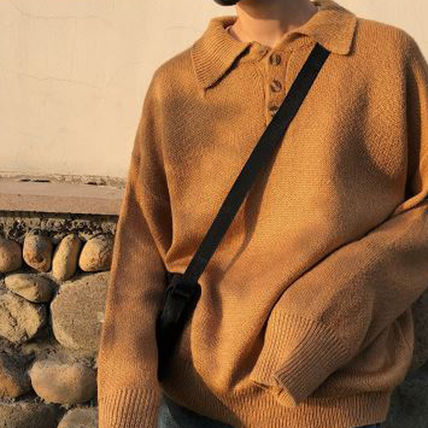 Knits & Sweaters Long Sleeves Plain Cotton Knits & Sweaters 18