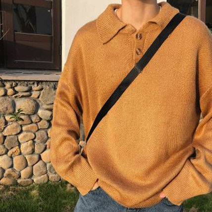 Knits & Sweaters Long Sleeves Plain Cotton Knits & Sweaters 19