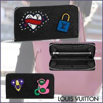 Louis Vuitton EPI Blended Fabrics Studded Plain Leather Long Wallets
