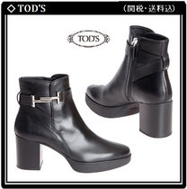 TOD'S Leather Block Heels Elegant Style Ankle & Booties Boots