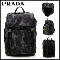 PRADA Camouflage Nylon Street Style Backpacks