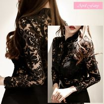Flower Patterns Long Sleeves Party Style Shirts & Blouses