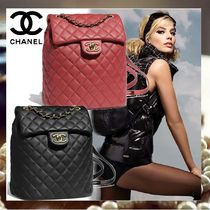 CHANEL Calfskin Elegant Style Backpacks