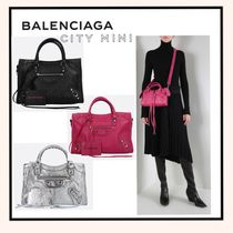 BALENCIAGA CITY Lambskin 2WAY Plain Elegant Style Handbags