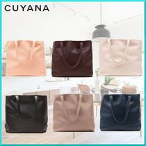 CUYANA A4 Plain Leather Elegant Style Totes