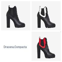 EGO Lace-up Casual Style Faux Fur Street Style Plain Block Heels