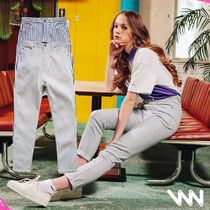 WV PROJECT Stripes Unisex Street Style Cotton Jeans & Denim