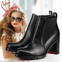 Christian Louboutin Plain Toe Plain Leather Block Heels Elegant Style