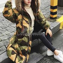 Camouflage Fur Long Down Jackets