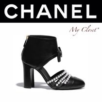 CHANEL ICON Plain Toe Chain Plain Leather Block Heels Handmade