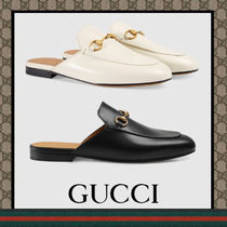 GUCCI Princetown Plain Leather Slip-On Shoes