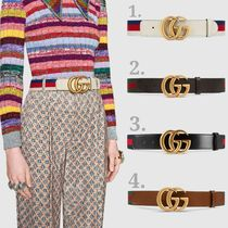 GUCCI GG Marmont Stripes Casual Style Leather Belts