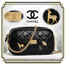 CHANEL MATELASSE Calfskin Chain Other Animal Patterns Elegant Style